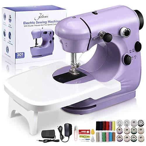 Jeteven Maquina de Coser para Principiantes,Máquina de Coser Portatil,con Kit de Costura y Mesa de Costura, para DIY Hogar Tela