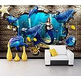 Papel Pintado,Papel Tapiz Mural 4D Personalizado,Cómic Animales Mar Estéreo Dolphin Mermaid Pintura Mural De Fondo Sofá Tv Wall Papers Hd Arte Imprimir Póster Para La Habitación De Los Niños De