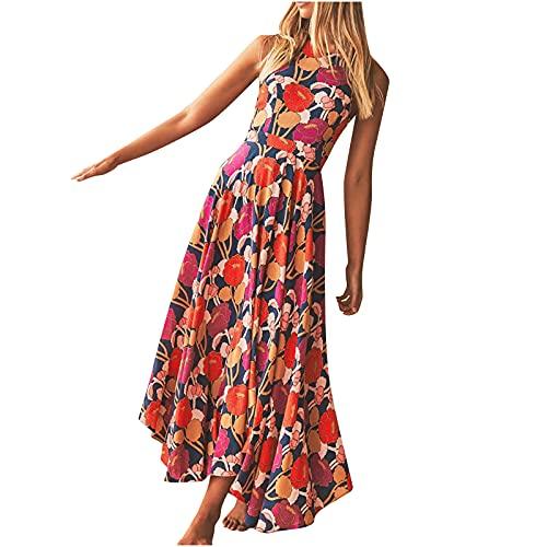 Vestido de verano para mujer con estampado de flores atractivas, sin mangas, cuello halter, vestido largo, elegante, vintage, étnico, vestido suelto, talla Reino Unido