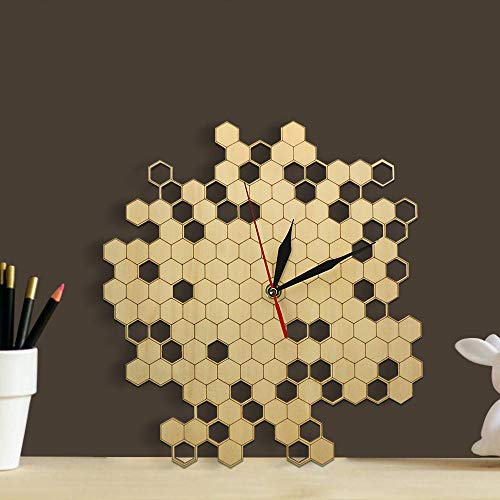 HENGCHENG Uhr Wand Wanduhr Wanduhren Imker Bienenwabe Natürliche Hölzerne Wanduhr Sechseck Wandkunst Holz Bienenhonig Zeitgenössische Hölzerne Uhr,