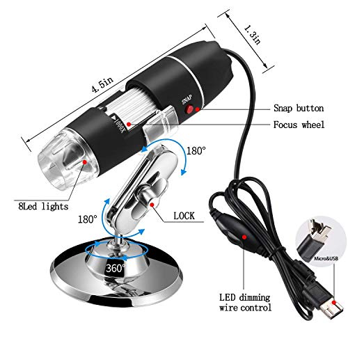 Jiusion 40 to 1000x Magnification Endoscope, 8 LED USB 2.0 Digital Microscope, Mini Camera with OTG Adapter and Metal Stand, Compatible with Mac Window 7 8 1   0 Android Linux