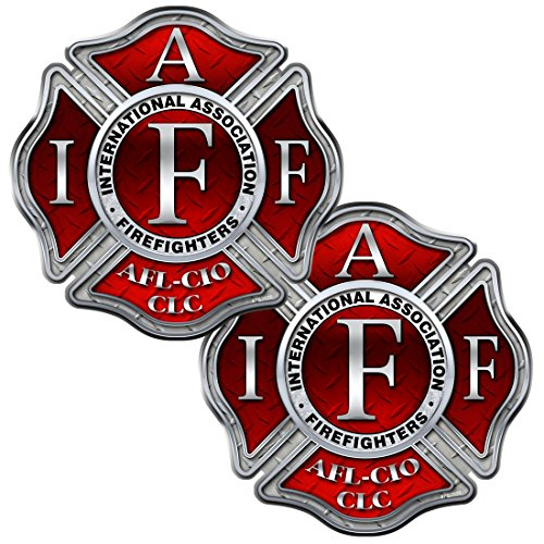 AZ House of Graphics Firefighter IAFF Diamond Plate 2 Pack Stickers - #FS2026