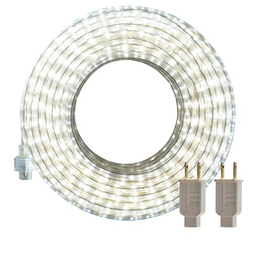LED Rope Lights Outdoor, SURNIE White 50ft Waterproof Flexible Strip Lights Kit 110V Connectable, Cuttable 6000K Indoor Tape Lighting UL Certified Decorative Location Garden Stairs Balcony Party