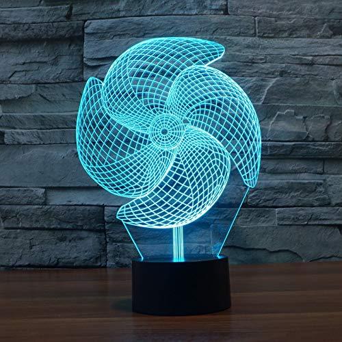 LNLZ Big Pinwheel 3D lumière Tactile coloré Charge LED Lampe de Table Cadeau visuel, USB, Tactile