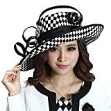 June's Young Women Church Hats Ladies Derby Hats Wide Brim Sun Hats Formal Dress Satin Pattern (Black White Color)