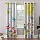 Cortinas Aishare Store, 52 x 95 paneles de cortina de ventana, diseño floral con rayos solares, diente de león colorido, cortinas aislantes para oscurecimiento de habitación (2 paneles)