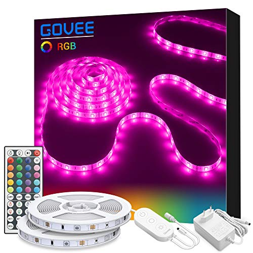 Govee Striscia LED 10M Dimmable RGB 5050 300 SMD con 44 Tasti Telecomando,Nastri LED Non Impermeabile 3M Adhesive LED Strip Light, Ideale per la Casa 12V, 2pcs x 5M