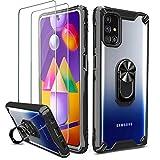 Milomdoi [Hartplastik ZurückundFlexibler TPU-Rahmen Hülle für Samsung Galaxy M31S Hülle+ 2 Stücks 9H Schutzfolie, [Anti Gelb] [Militärqualität] Klare Handyhülle mit 360°Metallring-Ständer.