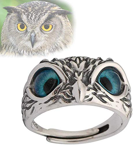 Anillo de búho de ojo de demonio de plata de ley 925, anillo ajustable abierto de animal retro, regalo de joyería de anillo indie vintage para mujeres y hombres