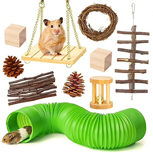 10pcs Juguetes para masticar hámster, juguetes y accesorios de madera natural para hámster, juguetes para el cuidado de los dientes juguetes de ejercicio para conejillos de indias sirios Ratas hámster