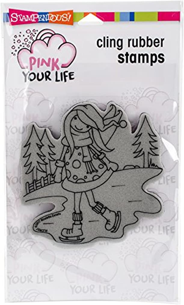 STAMPENDOUS PLCW07 Cling Stamp WFriends Ice Skater