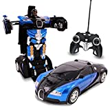 Blue Inferno RC Toy Transforming Robot Remote Control (27 MHz) Car with One Button Transformation, Realistic Engine Sounds and 360 Speed Drifting 1:14 Scale (Blue)