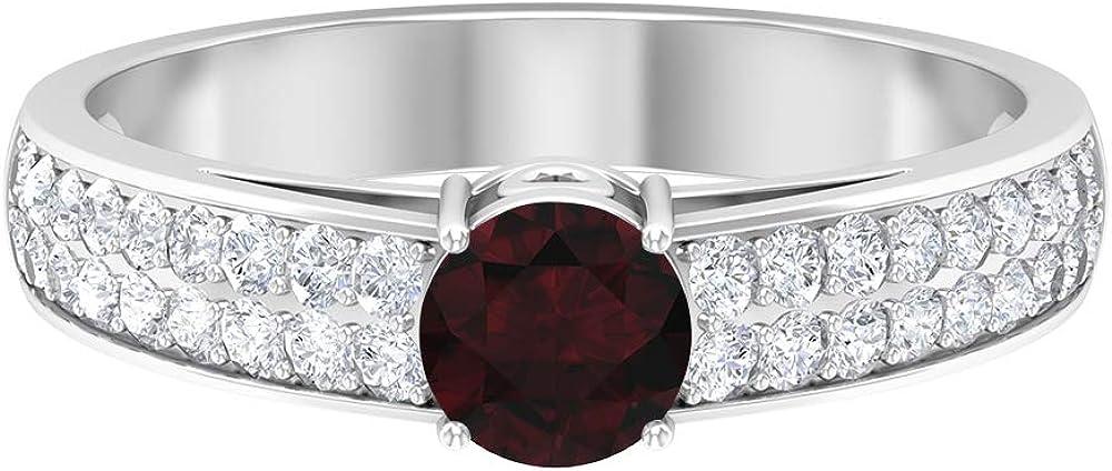 Limited price 5.00 MM Solitaire Garnet Ring Superior Solita Accent HI-SI Diamond
