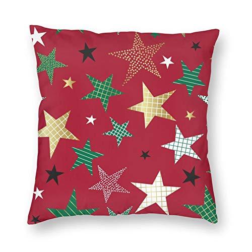 DESIGNS Funda de cojín, patrón con diseño de estrellas decorativas, funda de almohada decorativa para el hogar, para hombres, mujeres, niños, niñas, sala de estar, dormitorio, sofá de 40,6 x 40,6 cm