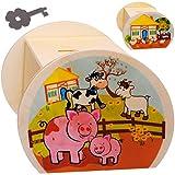 alles-meine.de GmbH große Holz - Spardose - Bauernhof - Kuh Schwein Hühner - mit Schlüssel & Schloß - stabile Sparbüchse - 11,5 cm - Sparschwein - für Kinder & Erwachsene - Kinde..
