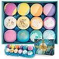 Bath Bombs Gift Set, Ribivaul 12 Pcs Bubble Bath Bombs, Handmade Natural & Organic Bath Bomb with Fizzy Bubbles, Mother's Day/Birthday Gift Idea for Women/Kids/Friends