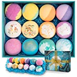 Bath Bombs 12 PCS Gift Set, Ribivaul Handmade Natural & Organic Bath Bomb with Rich Bubbles and Colors, Idea Valentine's Day Gift for Men/Women/Kids/Friends
