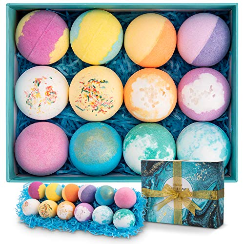 Bath Bombs, Ribivaul 12 Pcs Bubble Bath Bombs Gift Set, Handmade Natural & Organic Bath Bomb with Lush Fizzy Bubbles, Christmas/Valentine's Day/Birthday Gift Idea for Women/Kids, 12 Pcs × 3 oz Each