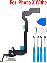 Eoneding Charging Port Replacement Kit USB Charging Charger Port Dock Connector Flex Cable + Microphone + Headphone Audio Jack Replacement Part for iPhone X White