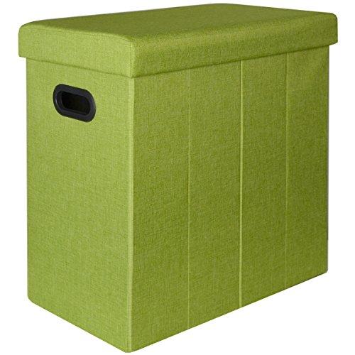 DuneDesign Faltbarer Wäschekorb 70L Wäschetruhe mit Deckel Wäschebox mit Griffen Wäschesammler Leinen-Optik Grün