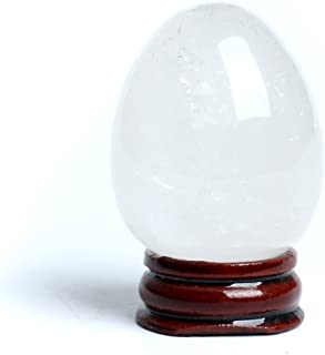 Hongjintian Natural Clear Crystal Carved Eggs With Free Wood Stand Crystal Reiki Crafts Eggs for Chakra Healing