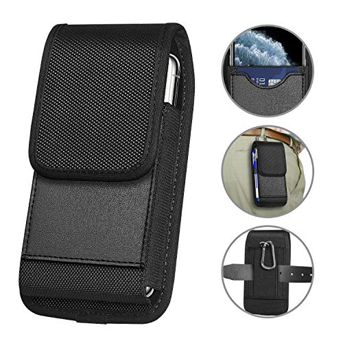 ykooe Vertical Nylon Holster for Samsung Galaxy A10e S9 Plus S10e Carrying Cell Phone Holster Belt Holder Case Pouch for (4.5 to 6.5 inch) iPhone SE 2020 LG Stylo 5