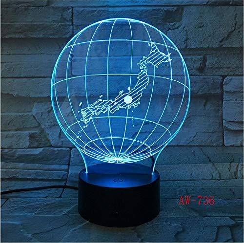 Japon 3D-nachtlampje, LED, acryl, stereo, Vision decoratie, lamp, verschillende kleuren, kleurverandering, USB, voor slaapkamer, nachtlicht, bureaulamp, afstandsbediening, telefoon, Bluetooth, kleurbesturing