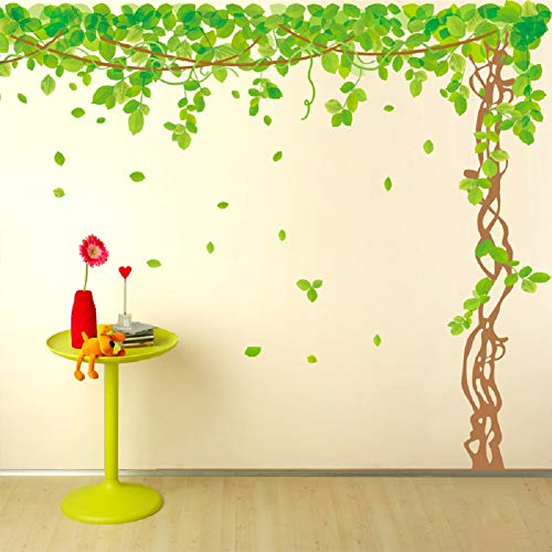 "SWORNA Nature Series SN040 Lovely Large Green Tree Removable Vinyl DIY Wall Art Decor Decal Mural Sticker Kids Baby Nursery Living/Sitting Room Playroom Kindergarten Bedrooom Study Hallway 79""H X 91""W"