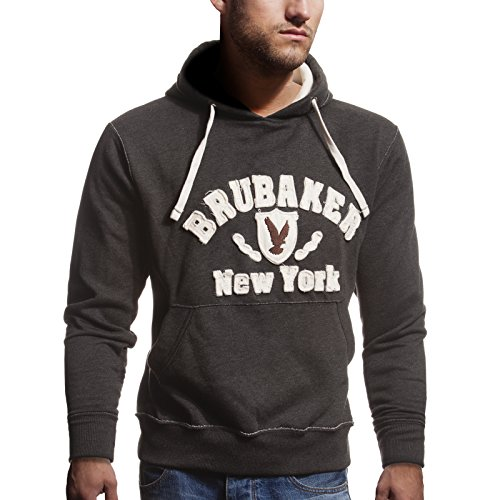 BRUBAKER N.Y. Eagle Sweat-Shirt à Capuche Homme Anthracite L