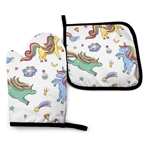 Pamela Hill Ofenhandschuhe und Topflappen Niedliche handgezeichnete magische Uniocrns und Sterne Handschuhe-Ofenhandschuhe und Topflappen Kochhandschuhe
