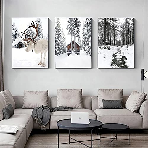 KELEQI Nordic Canvas Art Painting Reindeer Cedar Winter Snow Forest House Landscape Posters Prints Wall Pictures Home Decor (70x100cm) X3 Frameless