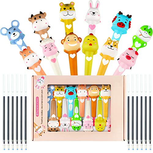 12 Pieces Cute Cartoon Gel Ink Pen Squishy Animal Decompression Pen with 24 Pieces Black Ink Refills Chinese Zodiac Pen Animal Pen for Kids School Students