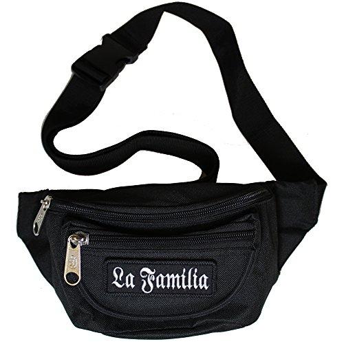 Bauchtasche La Familia Gürteltasche mit DREI Fächern und abnehmbaren Patch in schwarz