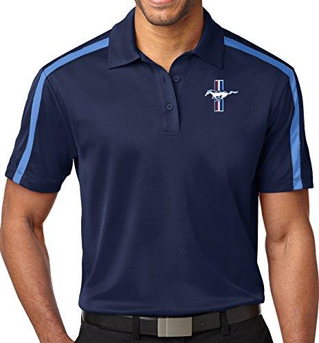 Mens Ford Legend Lives Crest Colorblock Stripe Polo Shirt (Pocket Print), XL...