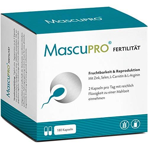 MascuPRO Fertilität Mann - Fruchtbarkeit + Spermienproduktion - 180 Kapseln - L-Arginin, L-Carnitin, Folsäure - Kinderwunsch Mann Tabletten
