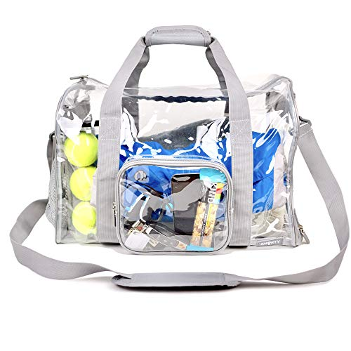 Large Heavy Duty Clear Duffel Gym Sport Bag with Shoe Pocket Padded Bottom Removable Shoulder Strap for Travel Work School Student Workout Fitness Workout Airport Security (Gray)