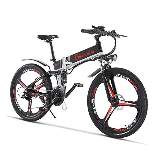 Bicicleta eléctrica 48V 350W Hombres Plegables Ebike 21 Velocidades Bicicleta de montaña y carretera con neumático de 26 pulgadas, freno de disco hidráulico y horquilla de suspensión total