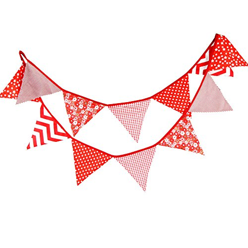G2PLUS Double Sided Fabric Bunting Banner, 3.3M Triangle Floral Bunting Flags mit 12PCS Floral Pennants, Cotton Shabby Chic Garland for Bedroom Brithday Tea Party Decorations-Red