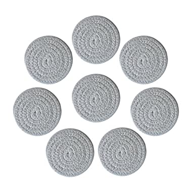 4.3  Diameter Round Woven Fabric Coasters for Drinks,Cups,Set of 8,Gray,Honla