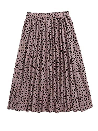 Floerns Women's Plus Size Ditsy Floral Frill Trim Flared Boho Midi Skirt Dark Pink 3XL