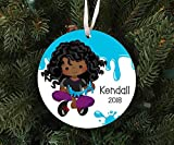 DKISEE Personalized Girls Slime Ornament Keepsake - Custom Made to Order - 2019 Unique Novelty Tree Decoration 3.1 inch