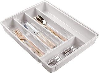 mDesign range couverts extensible pour tiroir ou placard de cuisine – bac à couverts 6 compartiments en plastique sans BPA...