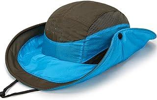 SHYPwM Outdoor Climbing Sun Hat, Cover Face Men Fishing Hat UV Protection Sun Visor (Color : Green)