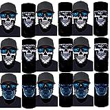 Aoopistc Skull Printed Skeleton Skull 3D Horror Face Cover Seamless Scarf Sun Protection Tube Neck Gaiter Magic Balaclavas Trippy Paint Headwear Multi-functional Cycling Sport Bandanas,9 pcs(Galaxy)