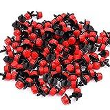 TONGDA 100 Piezas de Kit Riego por Goteo,Cabezas para Riego por Goteo Ajustables,Riego por Goteo Boquillas de Nebulización de Micro Flujo para Jardines de Vegetales (Rojo).