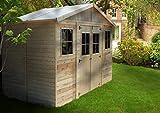 TIMBELA M332 ABRI de Jardin en Bois Exterieur - Maison de Jardin en Pin/épicéa- 418x220 cm/8 m²