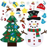 Il pacchetto include: 1 pezzo DIY feltro albero di Natale con 26 pezzi ornamenti e 1 pezzo diy feltro pupazzo di neve feltro con 30 pezzi ornamenti, aggiungere alcuni ornamenti staccabili carino al pupazzo di neve per suscitare più interesse e immagi...