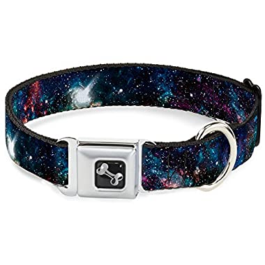 Buckle Down Seatbelt Buckle Dog Collar - Galaxy Collage - 1.5  Wide - Fits 16-23  Neck - Medium