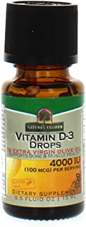 Nature's Answer Vitamin D-3 Drops | Blended with Extra Virgin Gold Olive Oil | Quickly Absorbed into Body | No Fillers, No Soy, Yeast Sugar, Milk or Preservatives 0.5oz