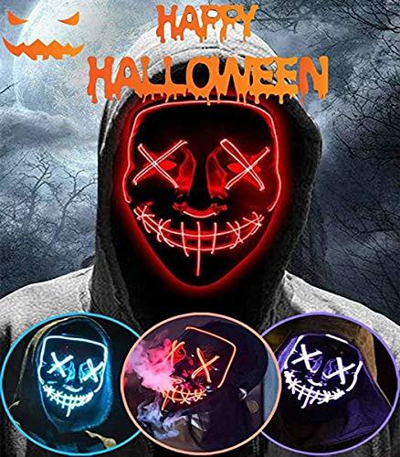 ALINILA Mascaras Halloween de Terror LED MáScara Luminosa,Purga Grimace Mask 4 Modos de Parpadeo Controlables y Diferentes,para DecoracióN de Disfraces de Fiesta de Carnaval, Hombres y Mujeres (Red)